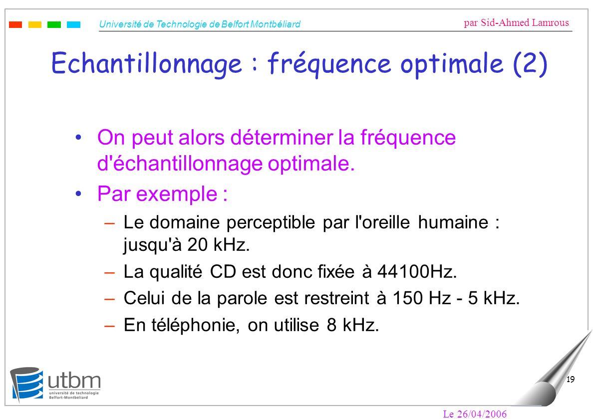 Université de Technologie de Belfort Montbéliard par Sid-Ahmed Lamrous Le 26/04/2006 19 Echantillonnage : fréquence optimale (2) On peut alors déterminer la fréquence d échantillonnage optimale.