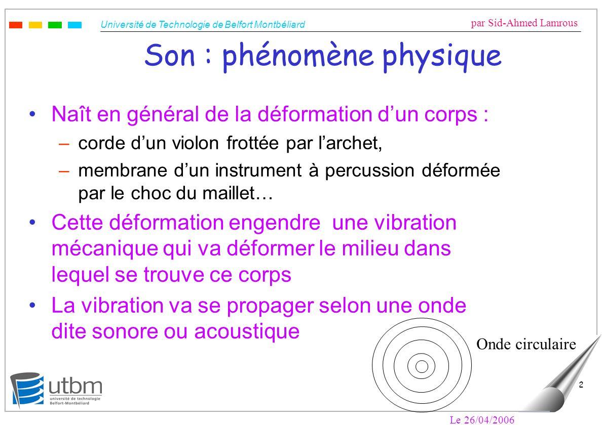 Université de Technologie de Belfort Montbéliard par Sid-Ahmed Lamrous Le 26/04/2006 2 Son : phénomène physique Naît en général de la déformation dun