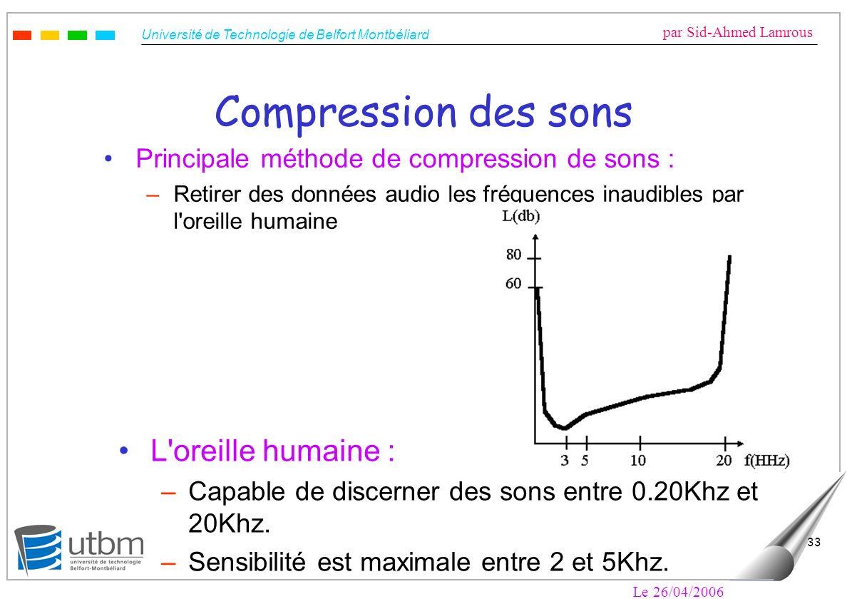Université de Technologie de Belfort Montbéliard par Sid-Ahmed Lamrous Le 26/04/2006 33 Compression des sons Principale méthode de compression de sons : –Retirer des données audio les fréquences inaudibles par l oreille humaine L oreille humaine : –Capable de discerner des sons entre 0.20Khz et 20Khz.