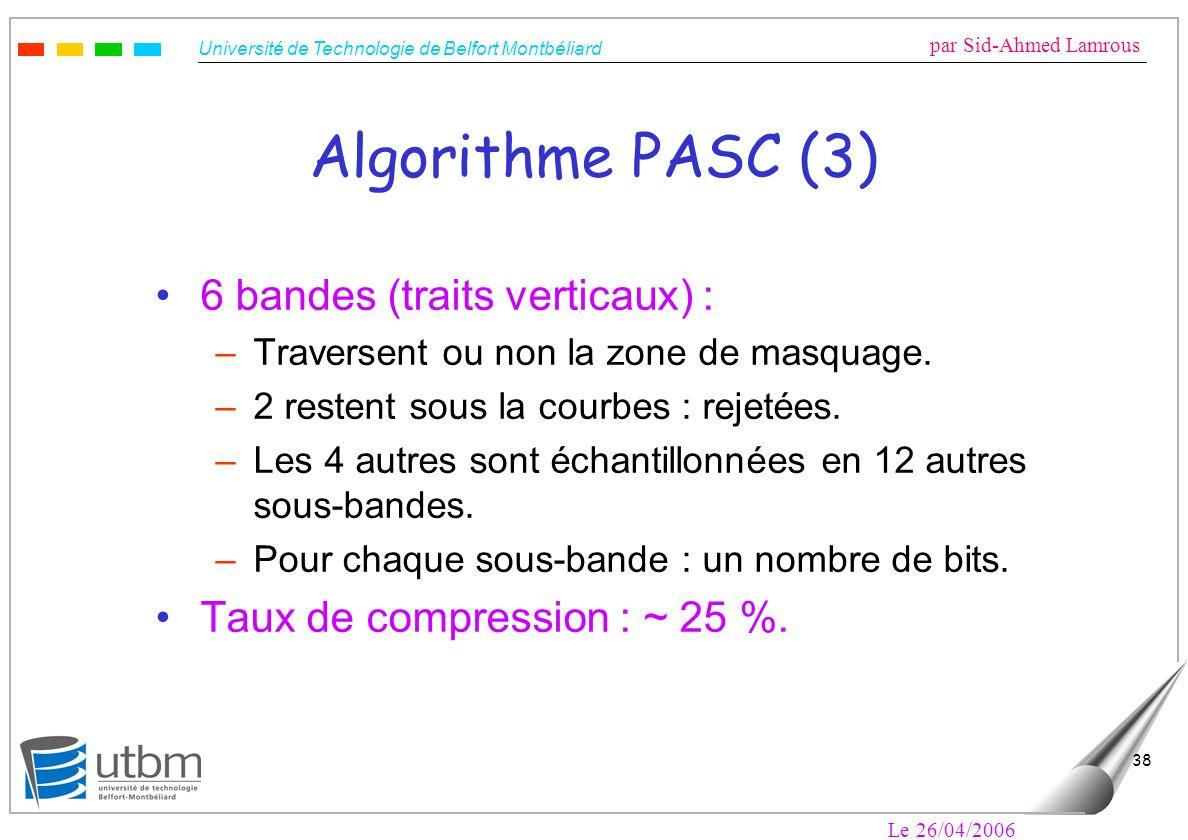 Université de Technologie de Belfort Montbéliard par Sid-Ahmed Lamrous Le 26/04/2006 38 Algorithme PASC (3) 6 bandes (traits verticaux) : –Traversent ou non la zone de masquage.