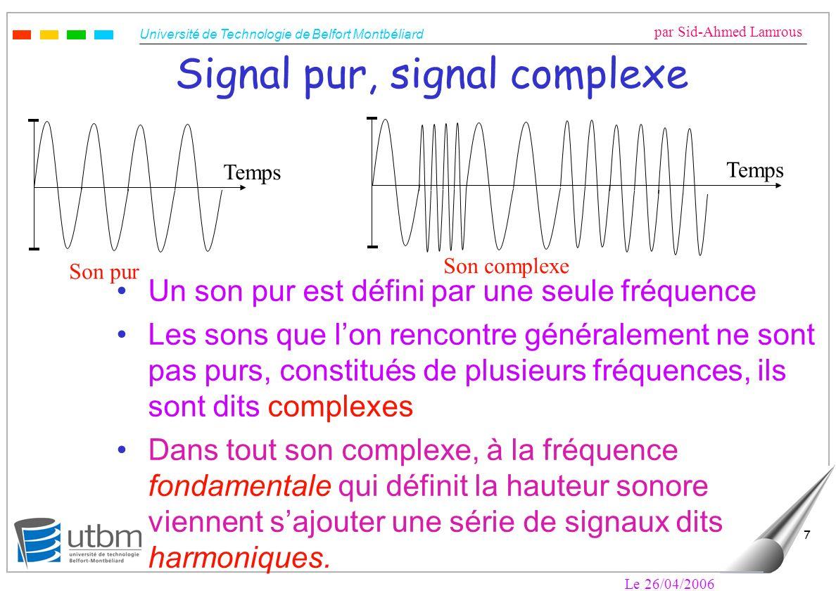 Université de Technologie de Belfort Montbéliard par Sid-Ahmed Lamrous Le 26/04/2006 7 Signal pur, signal complexe Un son pur est défini par une seule