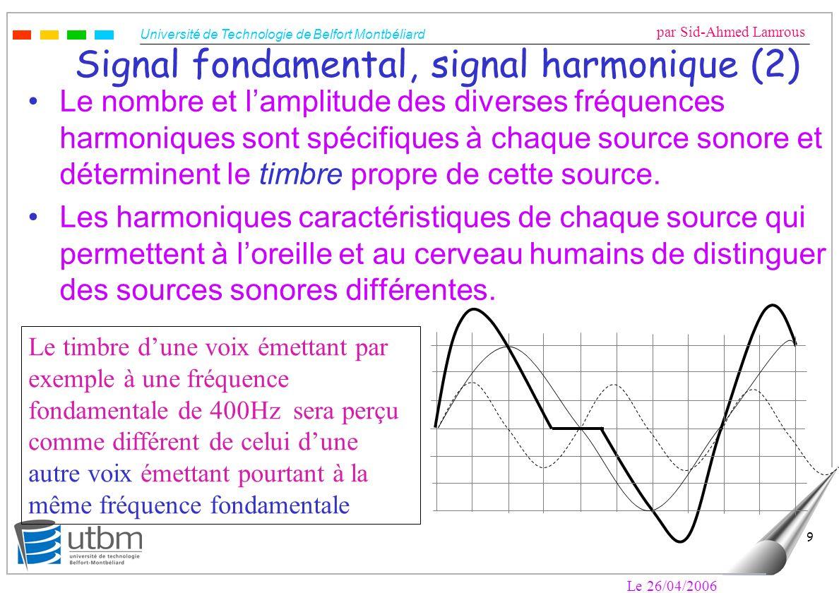 Université de Technologie de Belfort Montbéliard par Sid-Ahmed Lamrous Le 26/04/2006 9 Signal fondamental, signal harmonique (2) Le nombre et lamplitude des diverses fréquences harmoniques sont spécifiques à chaque source sonore et déterminent le timbre propre de cette source.