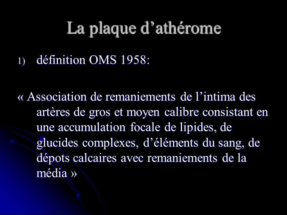 La plaque dathérome 1) définition OMS 1958: « Association de remaniements de lintima des artères de gros et moyen calibre consistant en une accumulati