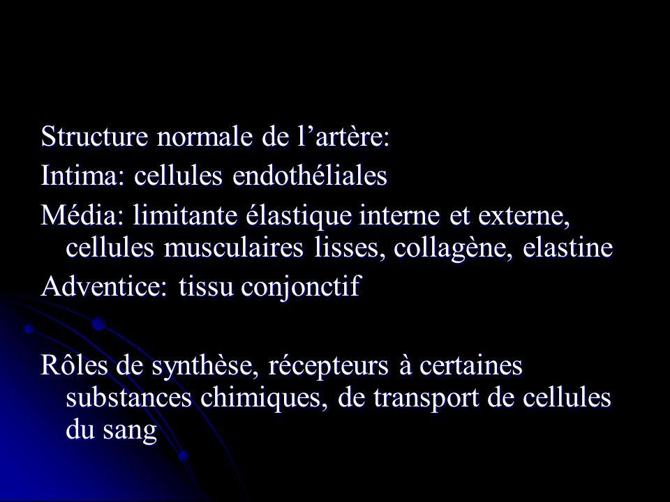 Structure normale de lartère: Intima: cellules endothéliales Média: limitante élastique interne et externe, cellules musculaires lisses, collagène, el