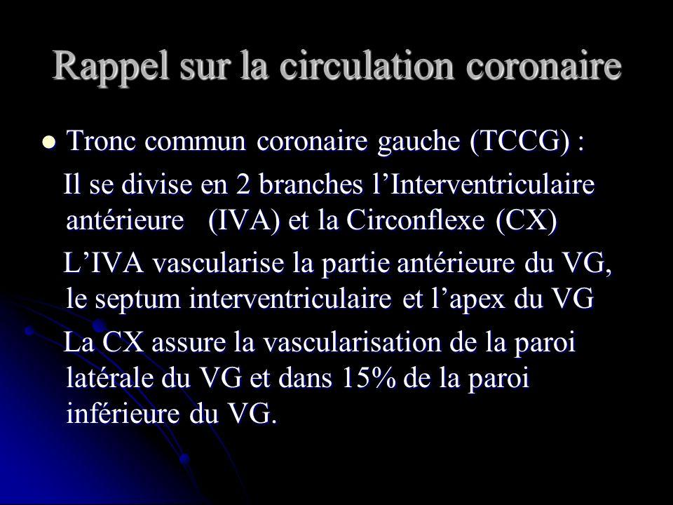 Rappel sur la circulation coronaire Tronc commun coronaire gauche (TCCG) : Tronc commun coronaire gauche (TCCG) : Il se divise en 2 branches lInterven