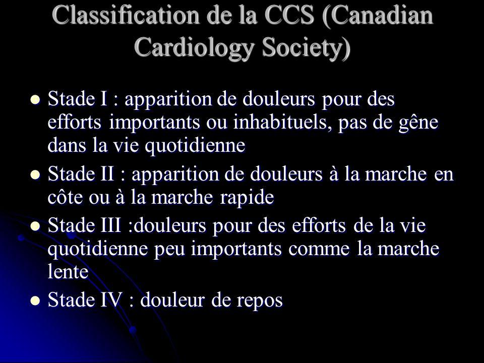 Classification de la CCS (Canadian Cardiology Society) Stade I : apparition de douleurs pour des efforts importants ou inhabituels, pas de gêne dans l