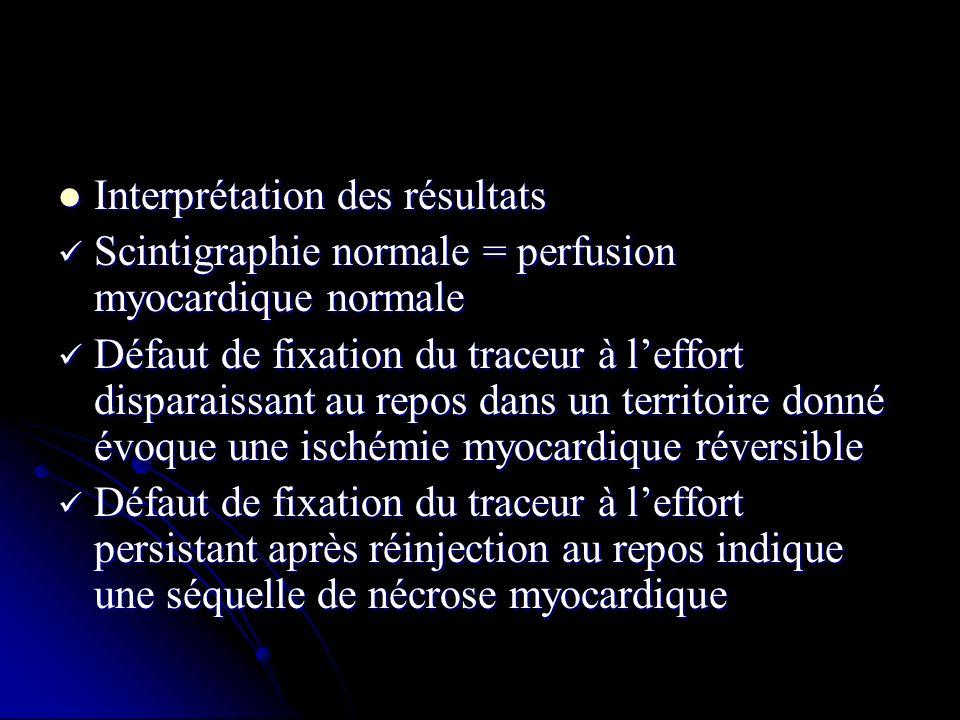 Interprétation des résultats Interprétation des résultats Scintigraphie normale = perfusion myocardique normale Scintigraphie normale = perfusion myoc