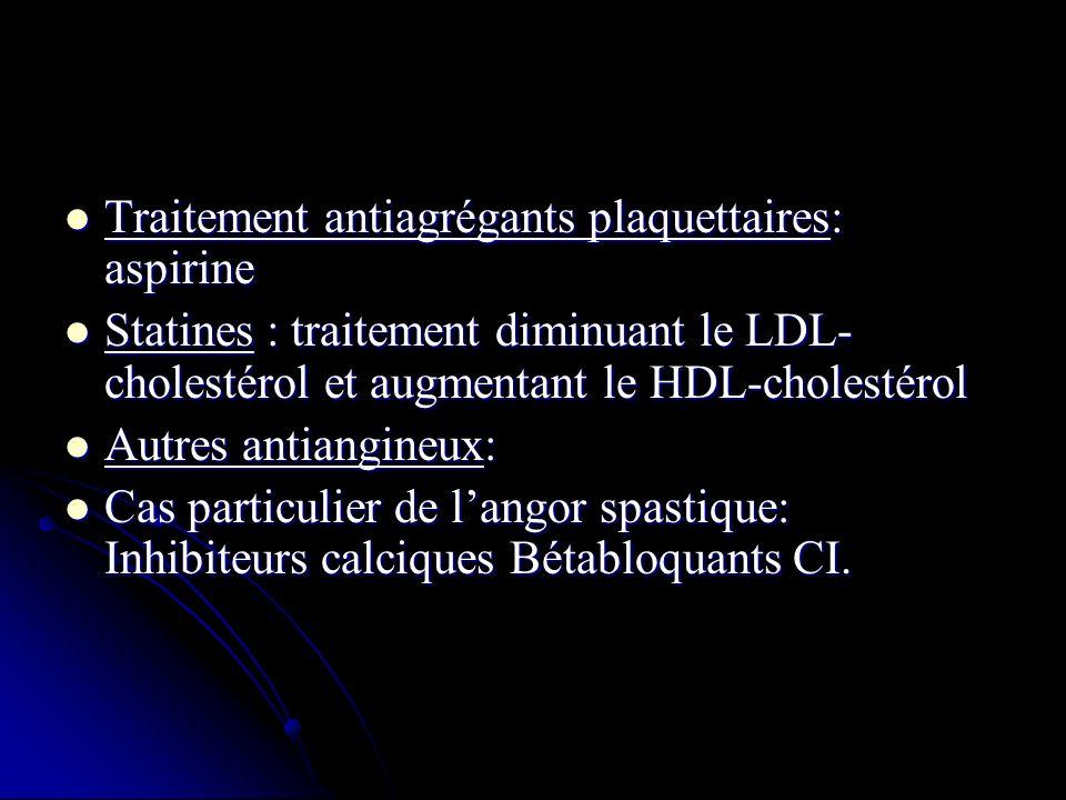 Traitement antiagrégants plaquettaires: aspirine Traitement antiagrégants plaquettaires: aspirine Statines : traitement diminuant le LDL- cholestérol