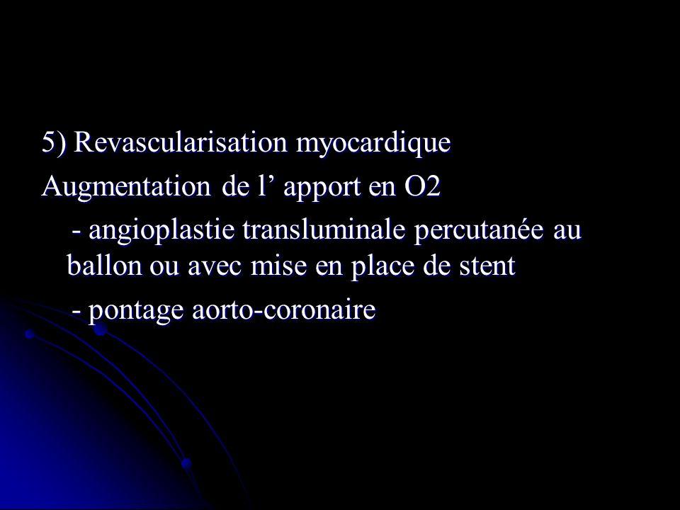 5) Revascularisation myocardique Augmentation de l apport en O2 - angioplastie transluminale percutanée au ballon ou avec mise en place de stent - ang