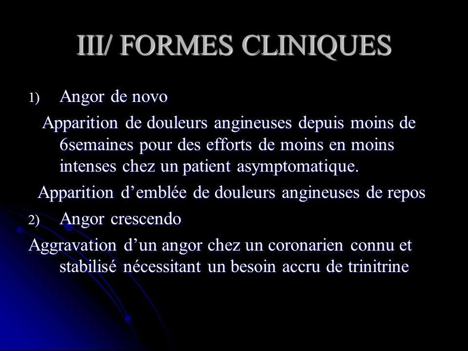 III/ FORMES CLINIQUES 1) Angor de novo Apparition de douleurs angineuses depuis moins de 6semaines pour des efforts de moins en moins intenses chez un