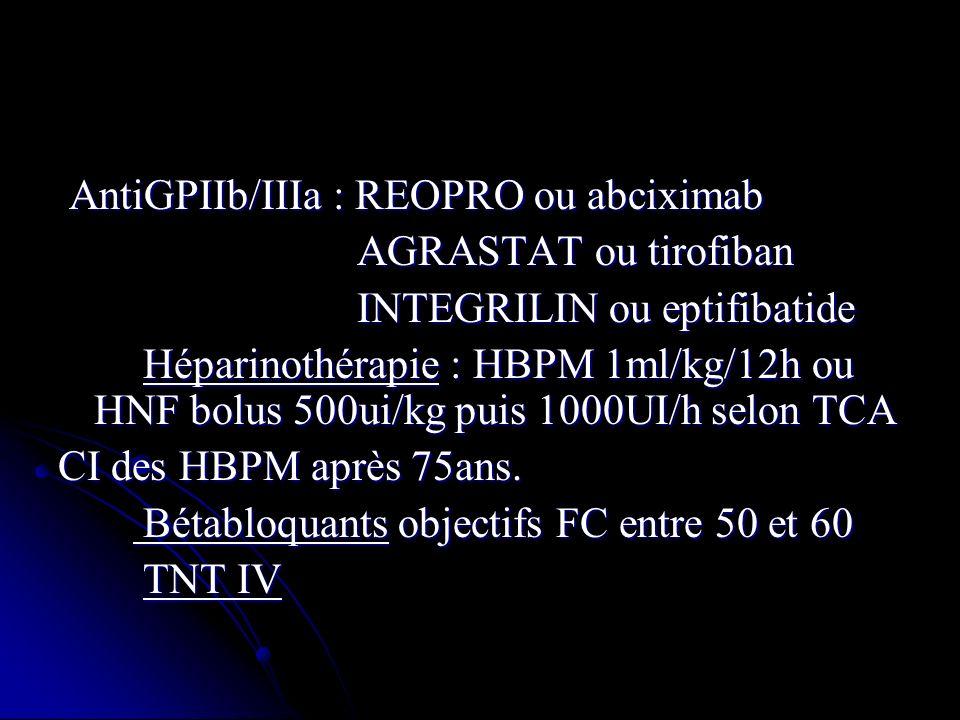 AntiGPIIb/IIIa : REOPRO ou abciximab AntiGPIIb/IIIa : REOPRO ou abciximab AGRASTAT ou tirofiban AGRASTAT ou tirofiban INTEGRILIN ou eptifibatide INTEG