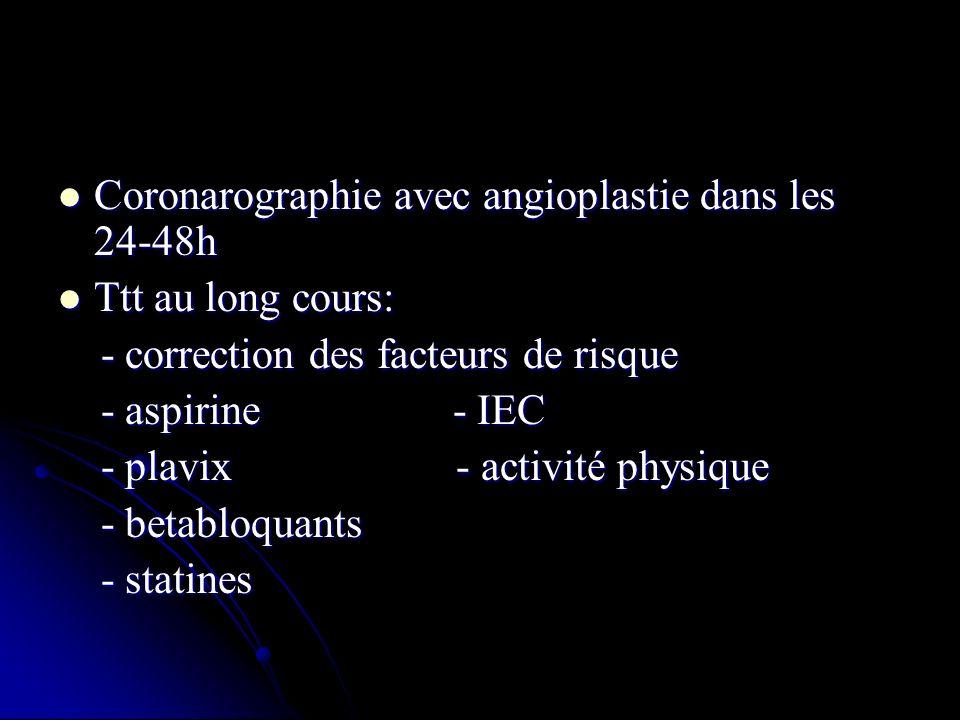 Coronarographie avec angioplastie dans les 24-48h Coronarographie avec angioplastie dans les 24-48h Ttt au long cours: Ttt au long cours: - correction