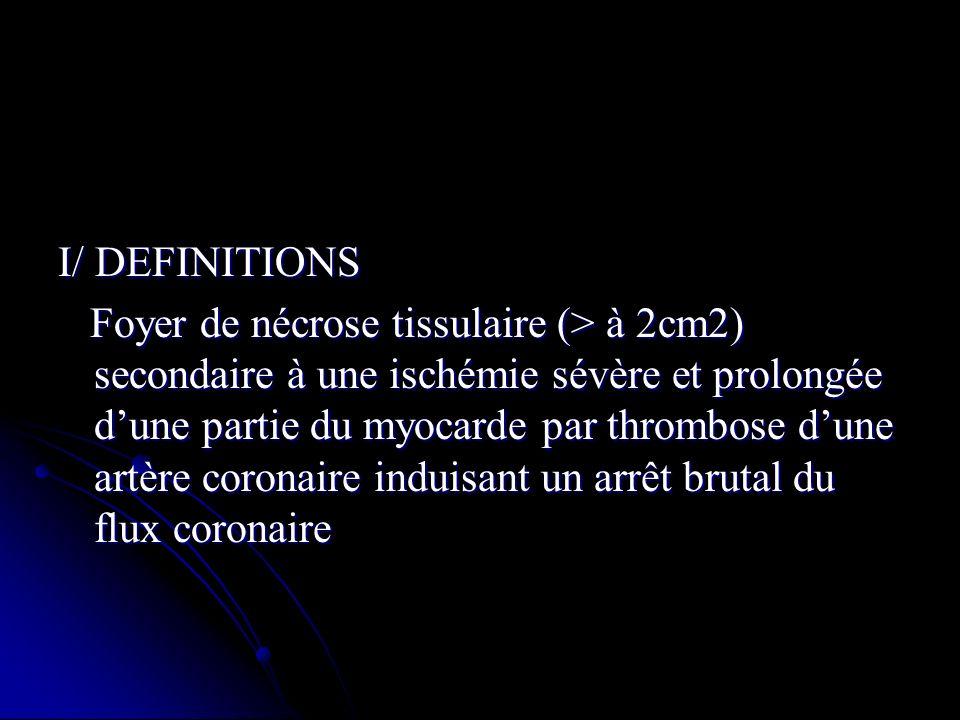 I/ DEFINITIONS Foyer de nécrose tissulaire (> à 2cm2) secondaire à une ischémie sévère et prolongée dune partie du myocarde par thrombose dune artère