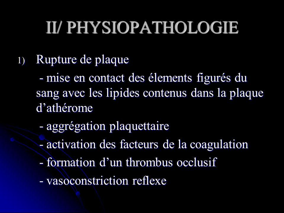 II/ PHYSIOPATHOLOGIE 1) Rupture de plaque - mise en contact des élements figurés du sang avec les lipides contenus dans la plaque dathérome - mise en