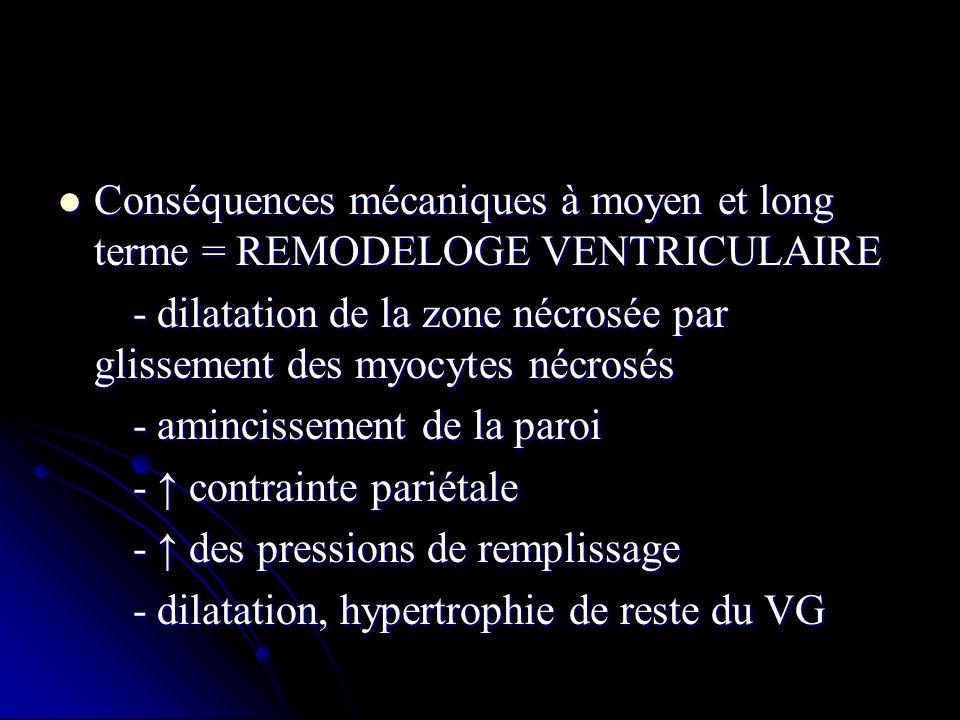 Conséquences mécaniques à moyen et long terme = REMODELOGE VENTRICULAIRE Conséquences mécaniques à moyen et long terme = REMODELOGE VENTRICULAIRE - di