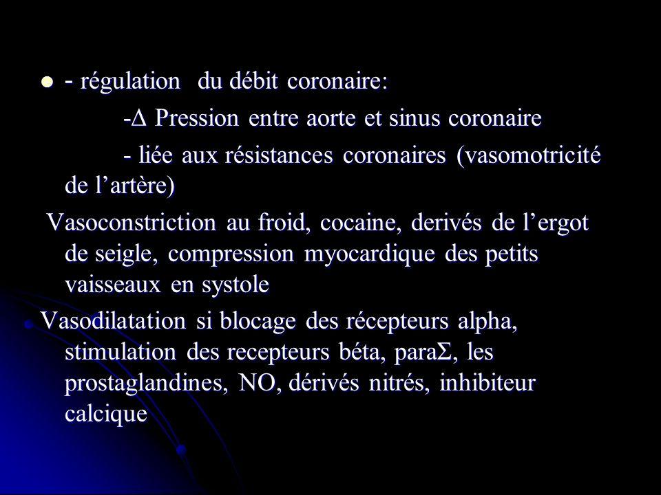 - régulation du débit coronaire: - régulation du débit coronaire: -Δ Pression entre aorte et sinus coronaire -Δ Pression entre aorte et sinus coronair