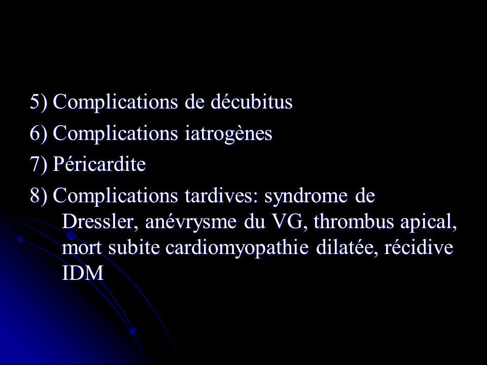 5) Complications de décubitus 6) Complications iatrogènes 7) Péricardite 8) Complications tardives: syndrome de Dressler, anévrysme du VG, thrombus ap