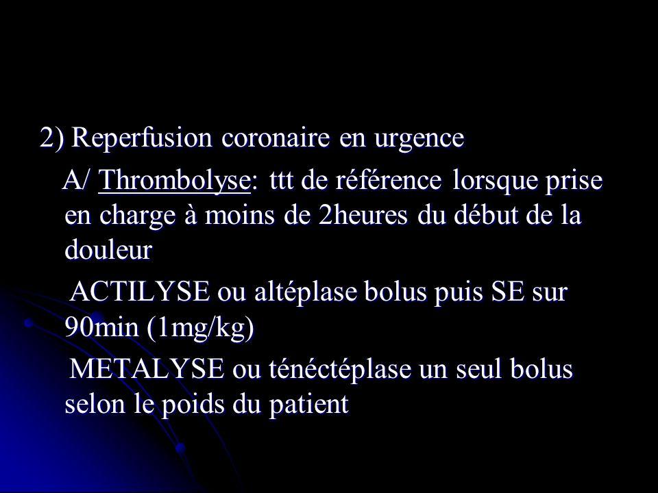 2) Reperfusion coronaire en urgence A/ Thrombolyse: ttt de référence lorsque prise en charge à moins de 2heures du début de la douleur A/ Thrombolyse: