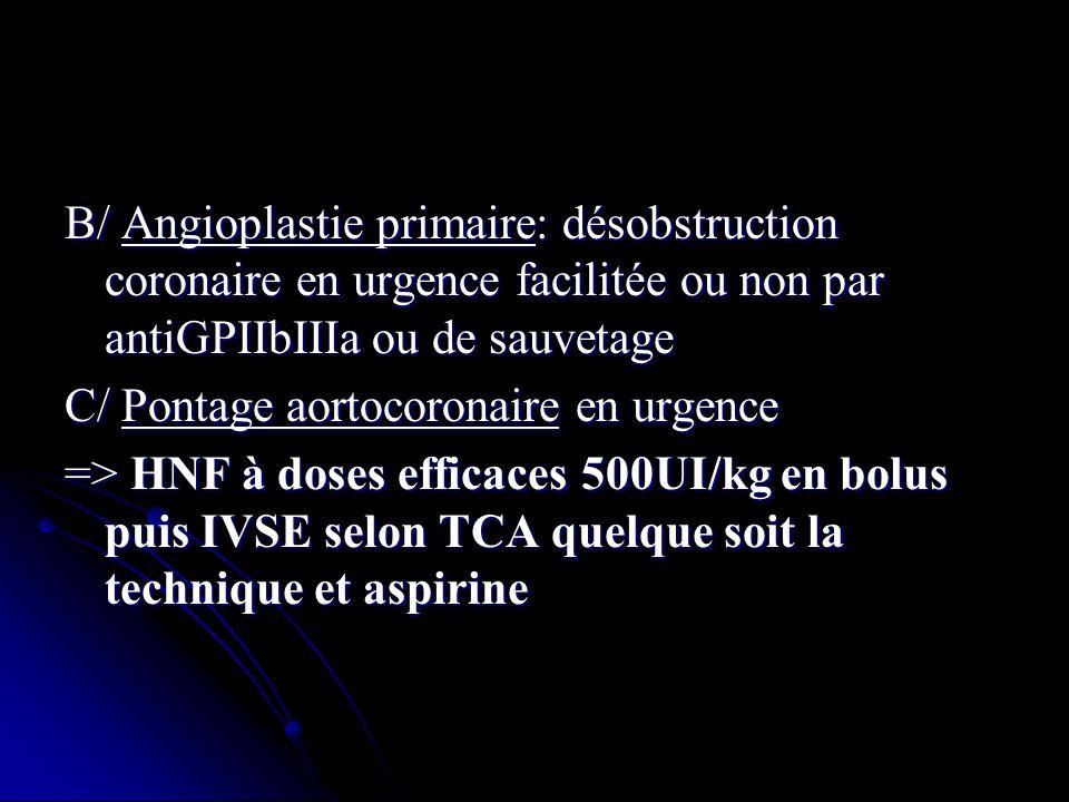 B/ Angioplastie primaire: désobstruction coronaire en urgence facilitée ou non par antiGPIIbIIIa ou de sauvetage C/ Pontage aortocoronaire en urgence