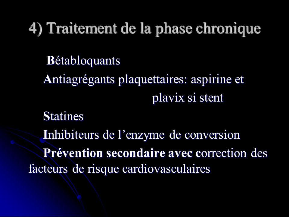 4) Traitement de la phase chronique Bétabloquants Bétabloquants Antiagrégants plaquettaires: aspirine et Antiagrégants plaquettaires: aspirine et plav