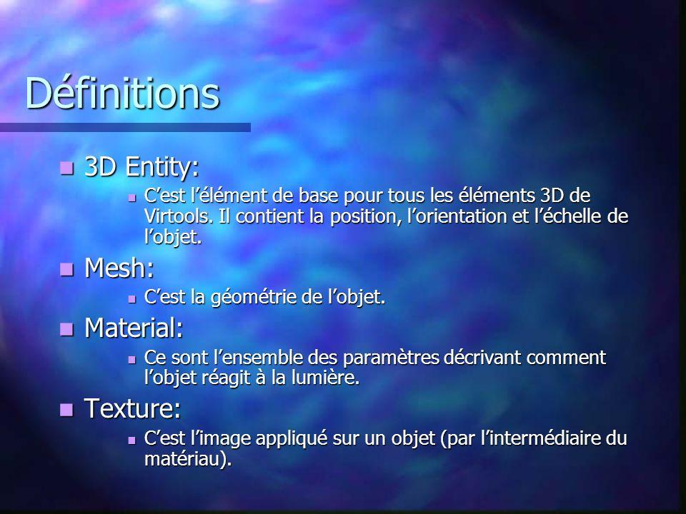 Définitions 3D Entity: 3D Entity: Cest lélément de base pour tous les éléments 3D de Virtools. Il contient la position, lorientation et léchelle de lo