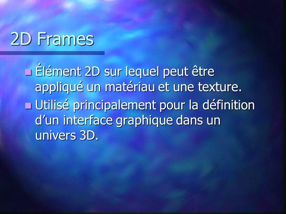 2D Frames Élément 2D sur lequel peut être appliqué un matériau et une texture. Élément 2D sur lequel peut être appliqué un matériau et une texture. Ut