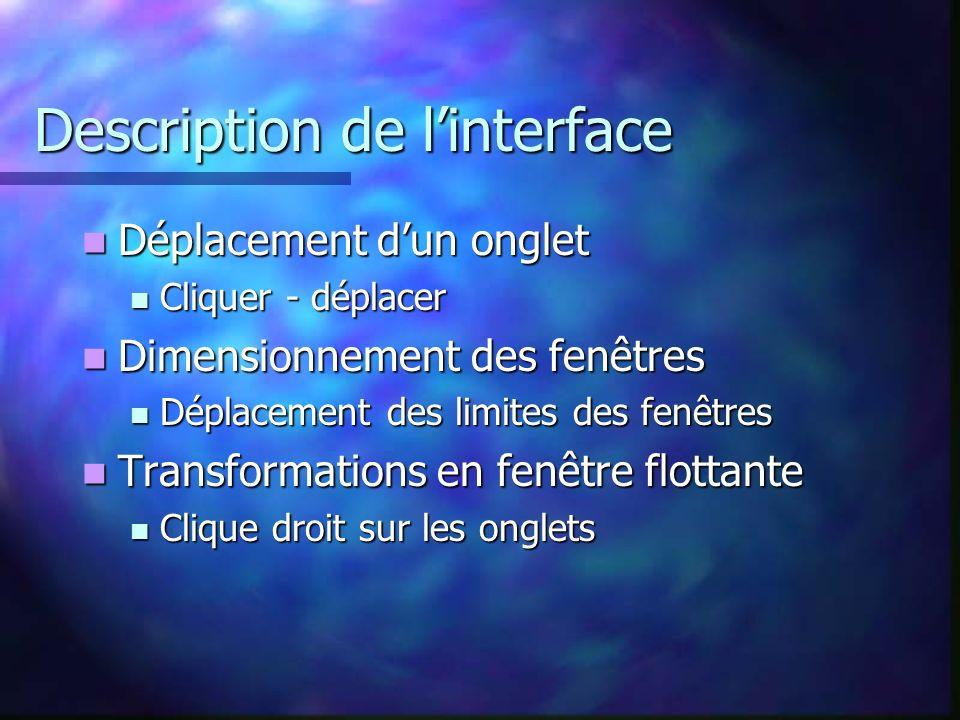 Description de linterface Déplacement dun onglet Déplacement dun onglet Cliquer - déplacer Cliquer - déplacer Dimensionnement des fenêtres Dimensionne