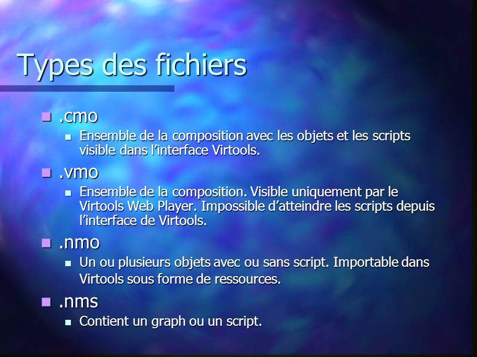 Types des fichiers.cmo.cmo Ensemble de la composition avec les objets et les scripts visible dans linterface Virtools. Ensemble de la composition avec
