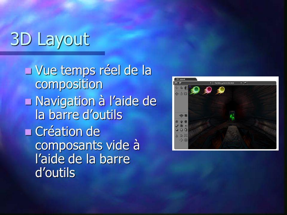 3D Layout Vue temps réel de la composition Vue temps réel de la composition Navigation à laide de la barre doutils Navigation à laide de la barre dout
