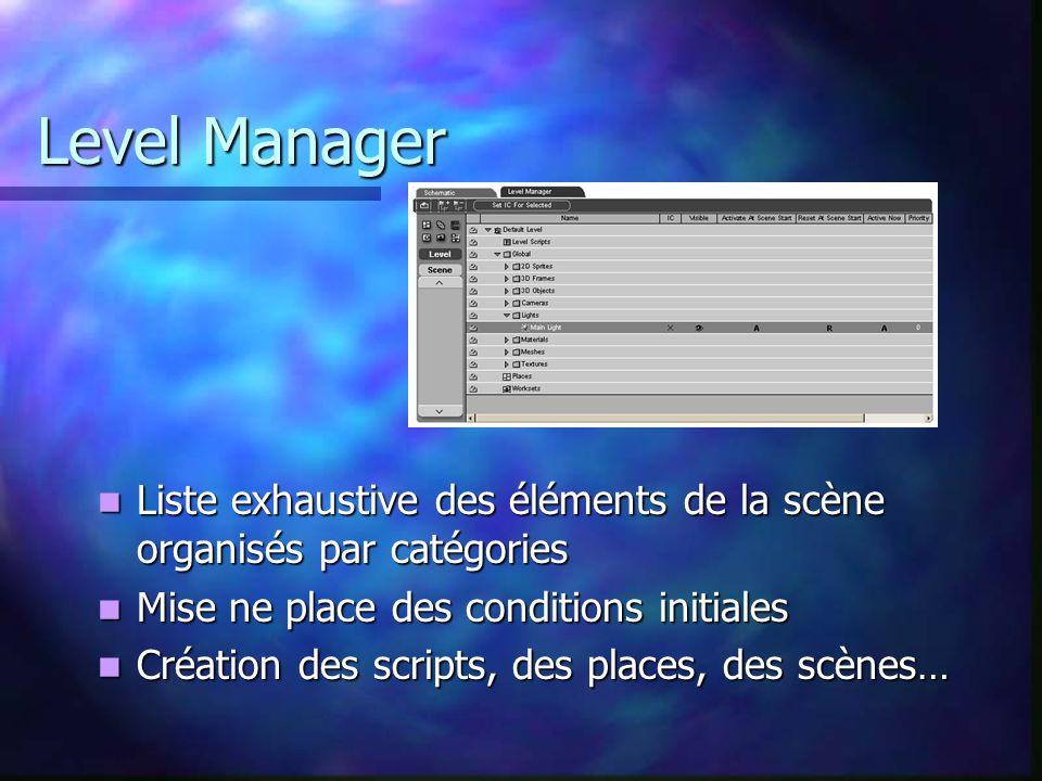Level Manager Liste exhaustive des éléments de la scène organisés par catégories Liste exhaustive des éléments de la scène organisés par catégories Mi