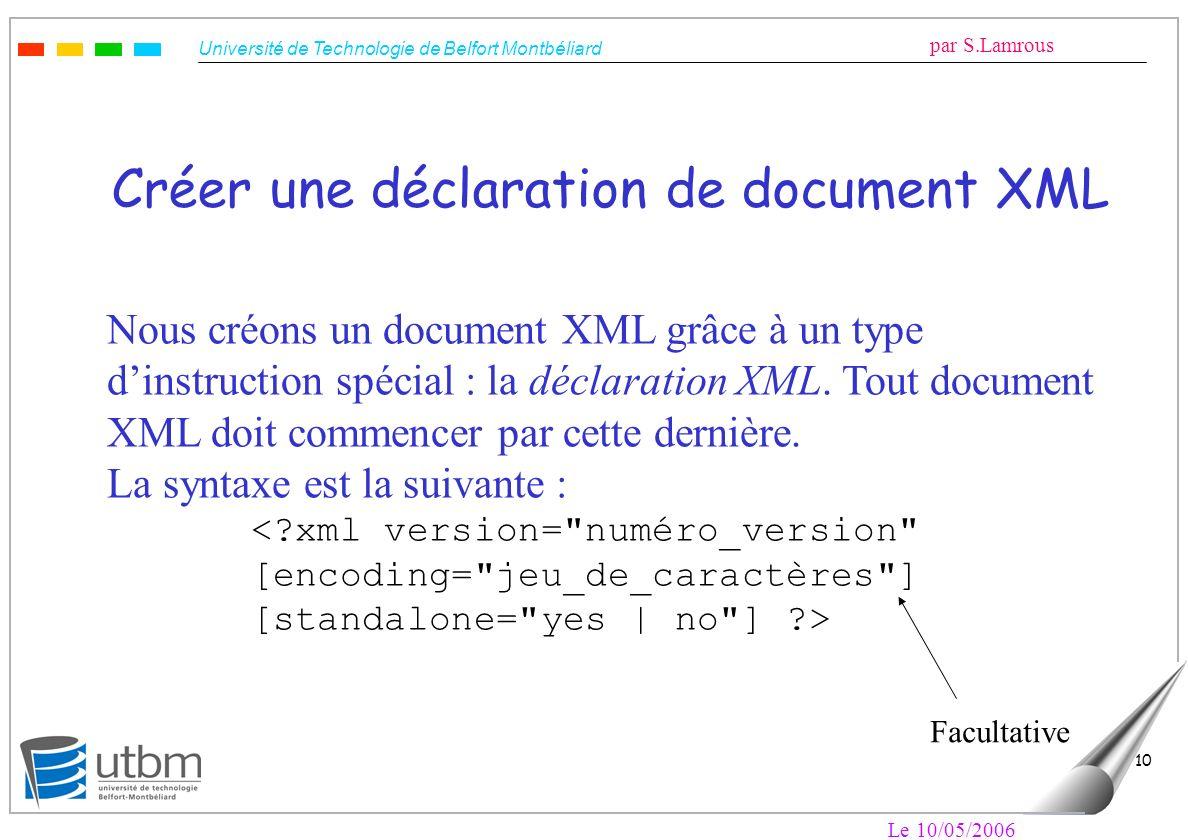 Université de Technologie de Belfort Montbéliard par S.Lamrous Le 10/05/2006 10 Créer une déclaration de document XML Nous créons un document XML grâc