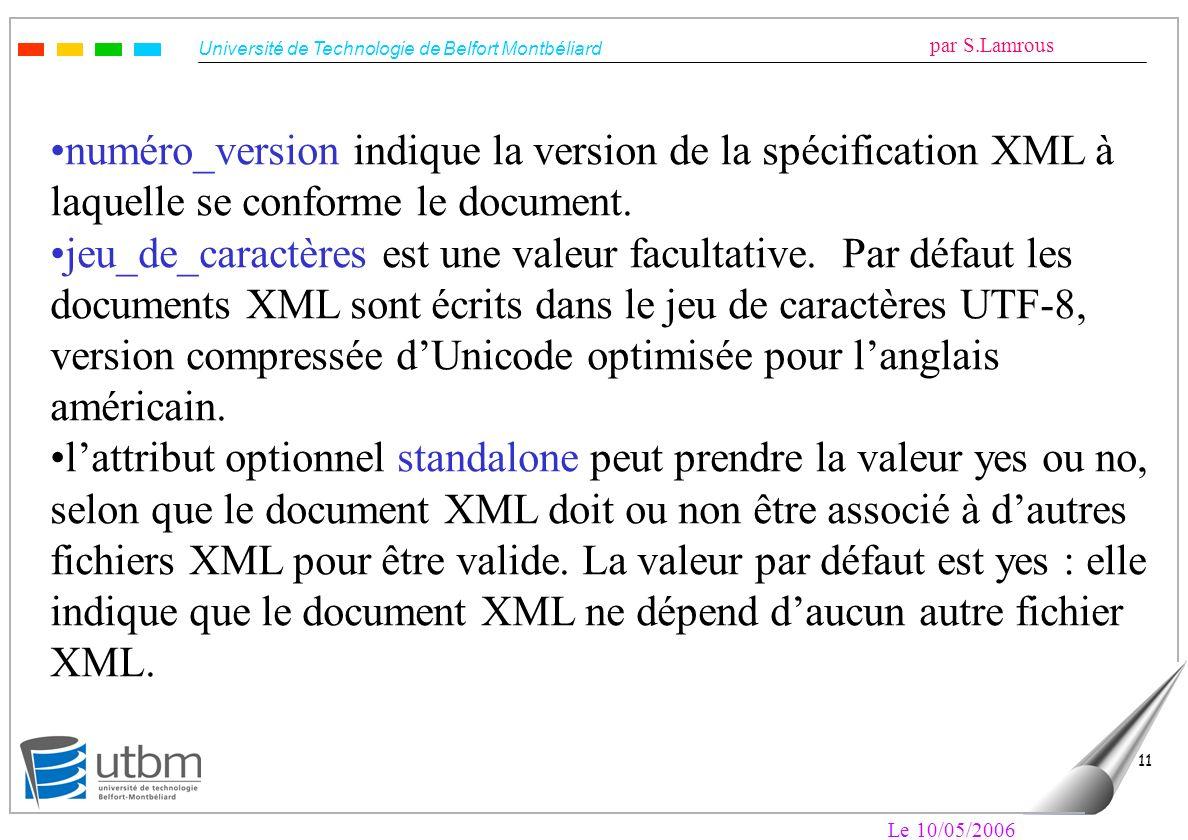 Université de Technologie de Belfort Montbéliard par S.Lamrous Le 10/05/2006 11 numéro_version indique la version de la spécification XML à laquelle s