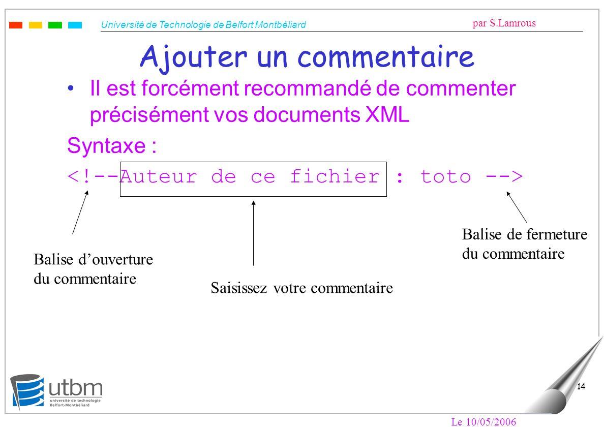 Université de Technologie de Belfort Montbéliard par S.Lamrous Le 10/05/2006 14 Ajouter un commentaire Il est forcément recommandé de commenter précis