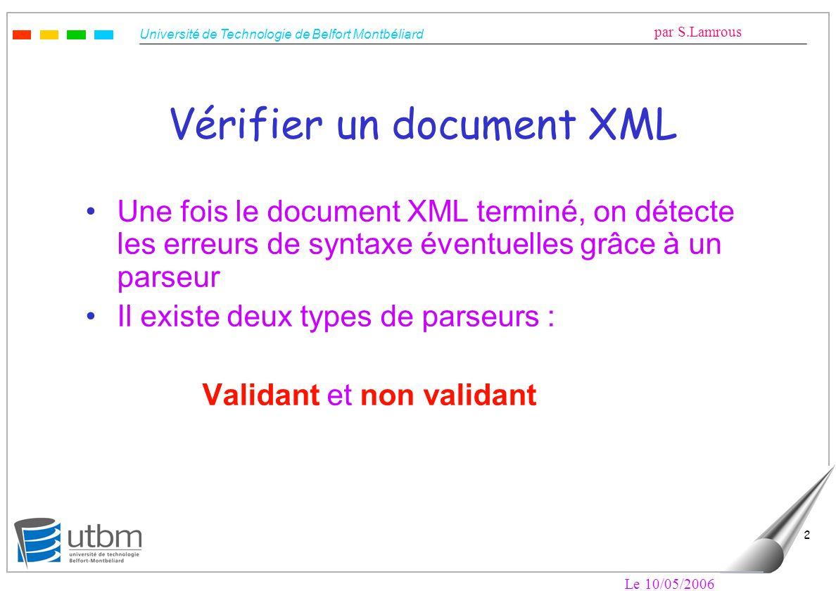 Université de Technologie de Belfort Montbéliard par S.Lamrous Le 10/05/2006 2 Une fois le document XML terminé, on détecte les erreurs de syntaxe éve