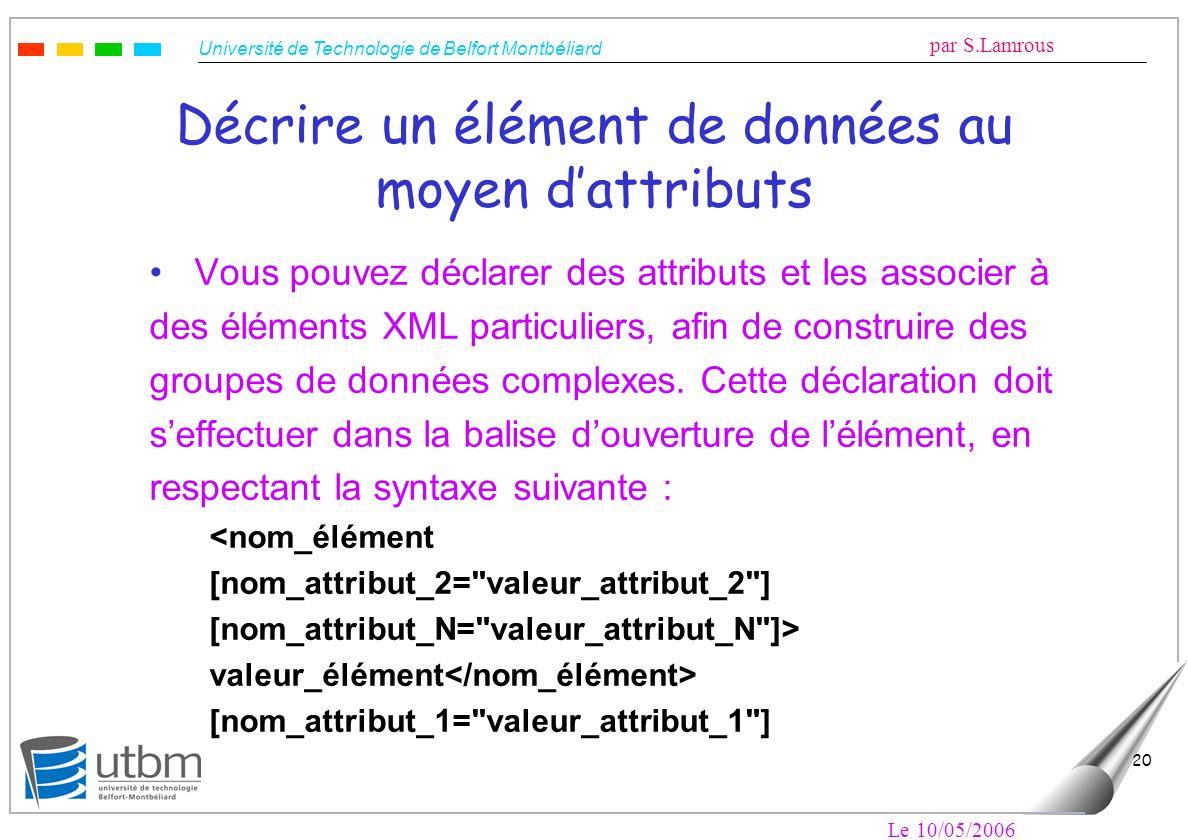 Université de Technologie de Belfort Montbéliard par S.Lamrous Le 10/05/2006 20 Décrire un élément de données au moyen dattributs Vous pouvez déclarer