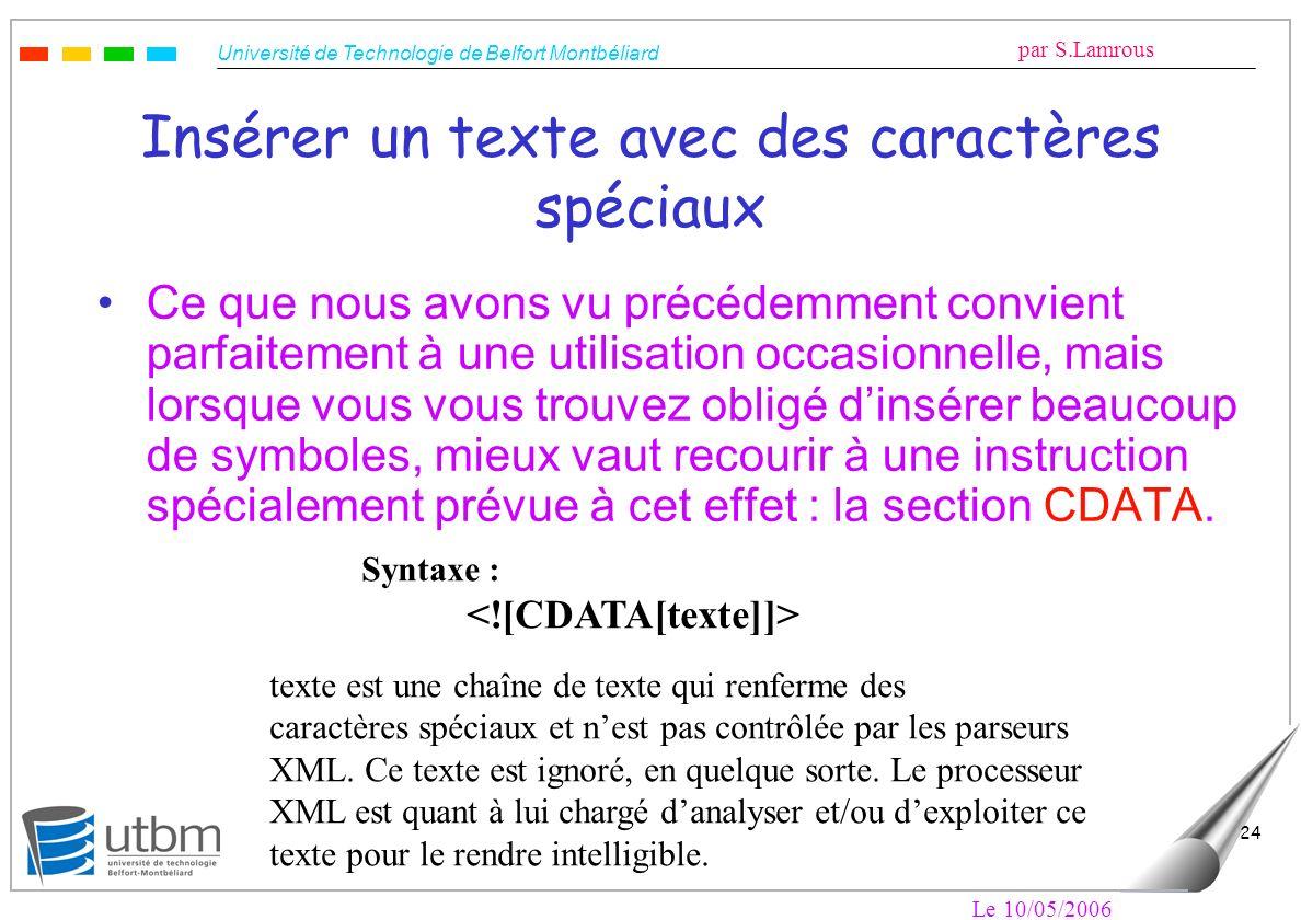 Université de Technologie de Belfort Montbéliard par S.Lamrous Le 10/05/2006 24 Insérer un texte avec des caractères spéciaux Ce que nous avons vu pré