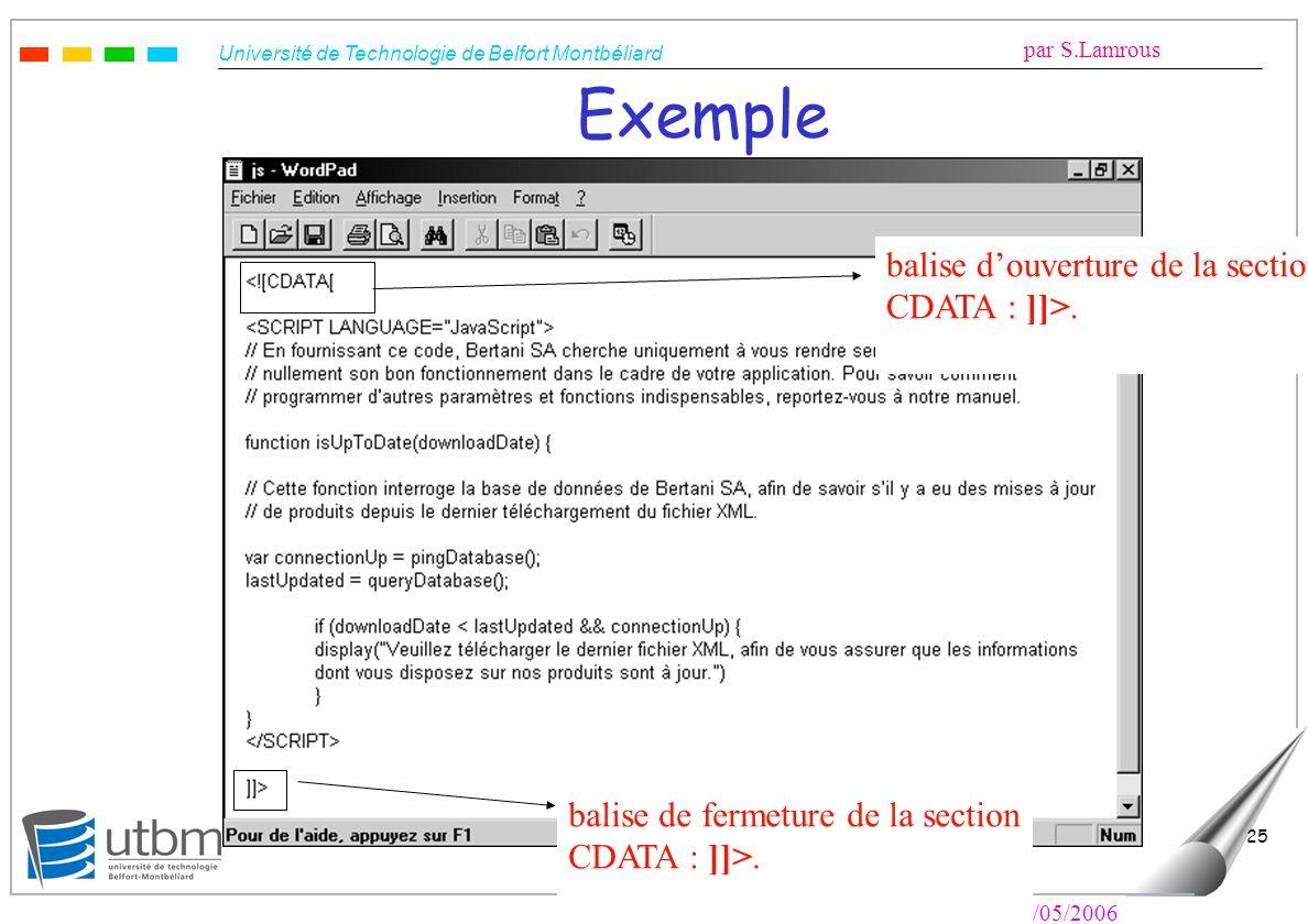 Université de Technologie de Belfort Montbéliard par S.Lamrous Le 10/05/2006 25 Exemple balise de fermeture de la section CDATA : ]]>. balise douvertu