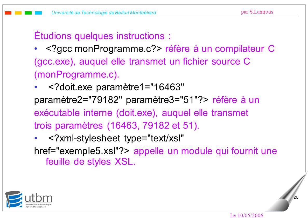 Université de Technologie de Belfort Montbéliard par S.Lamrous Le 10/05/2006 28 Étudions quelques instructions : réfère à un compilateur C (gcc.exe),
