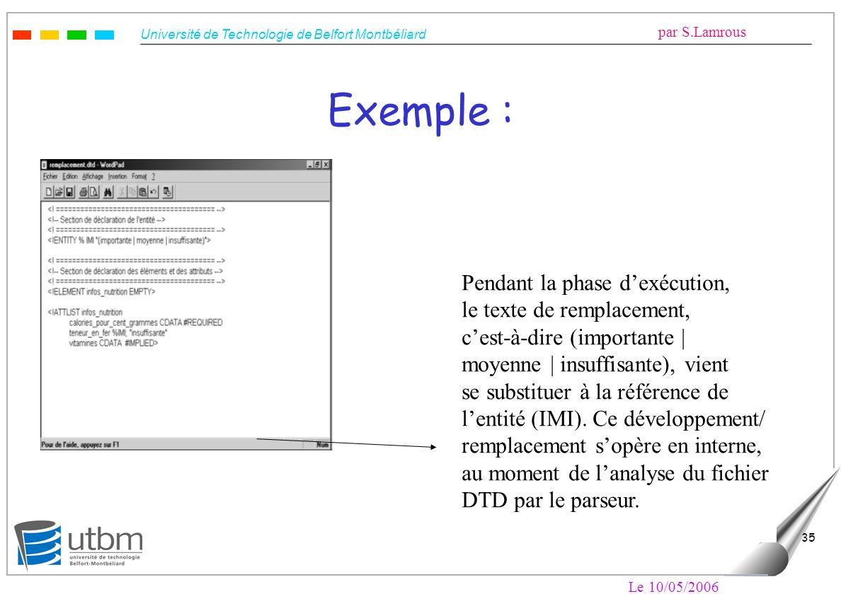 Université de Technologie de Belfort Montbéliard par S.Lamrous Le 10/05/2006 35 Exemple : Pendant la phase dexécution, le texte de remplacement, cest-