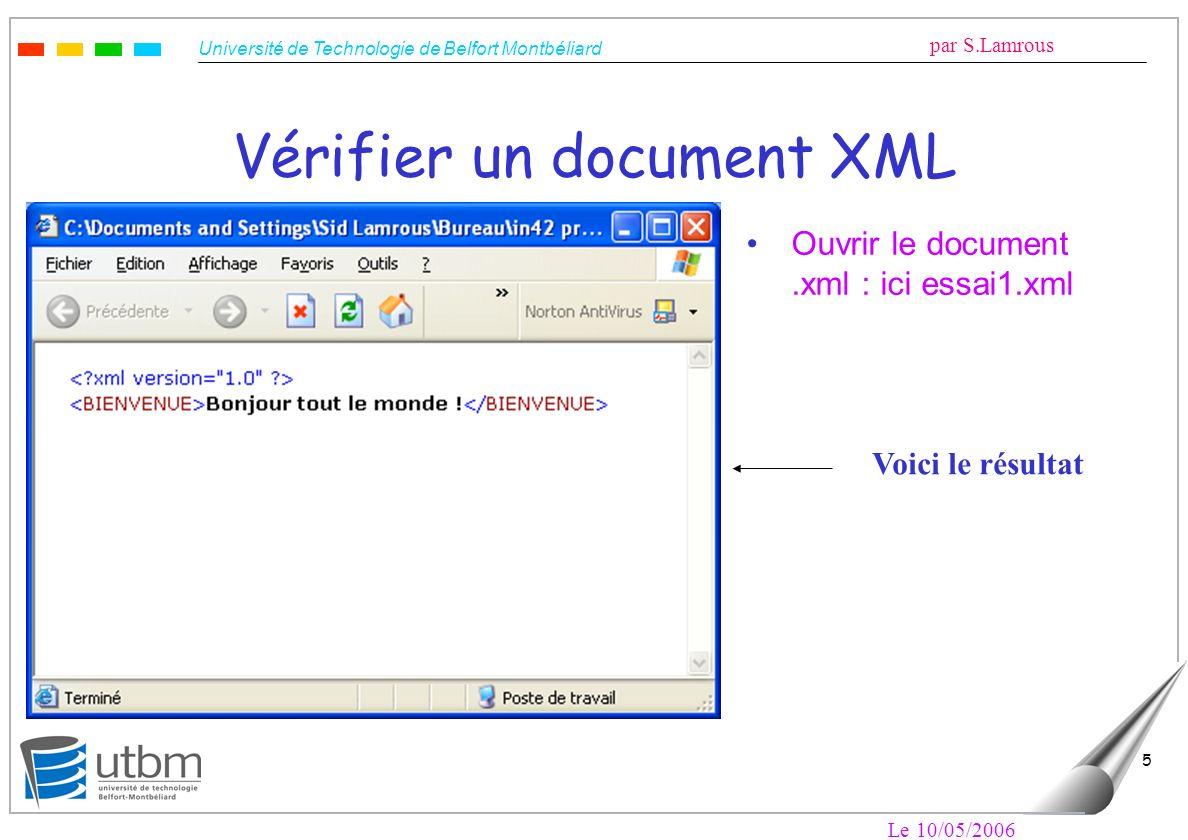 Université de Technologie de Belfort Montbéliard par S.Lamrous Le 10/05/2006 5 Vérifier un document XML Ouvrir le document.xml : ici essai1.xml Voici