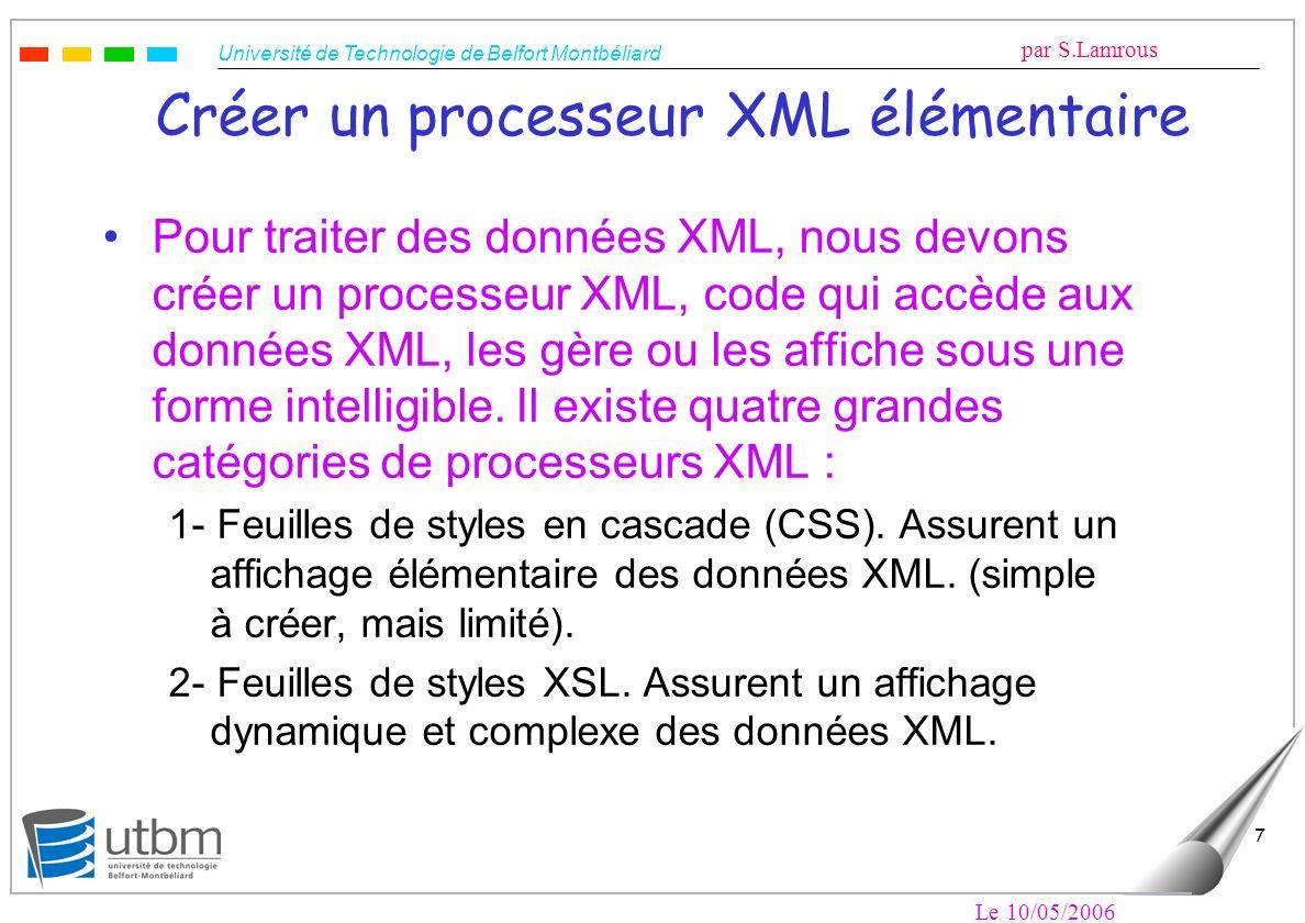 Université de Technologie de Belfort Montbéliard par S.Lamrous Le 10/05/2006 7 Créer un processeur XML élémentaire Pour traiter des données XML, nous