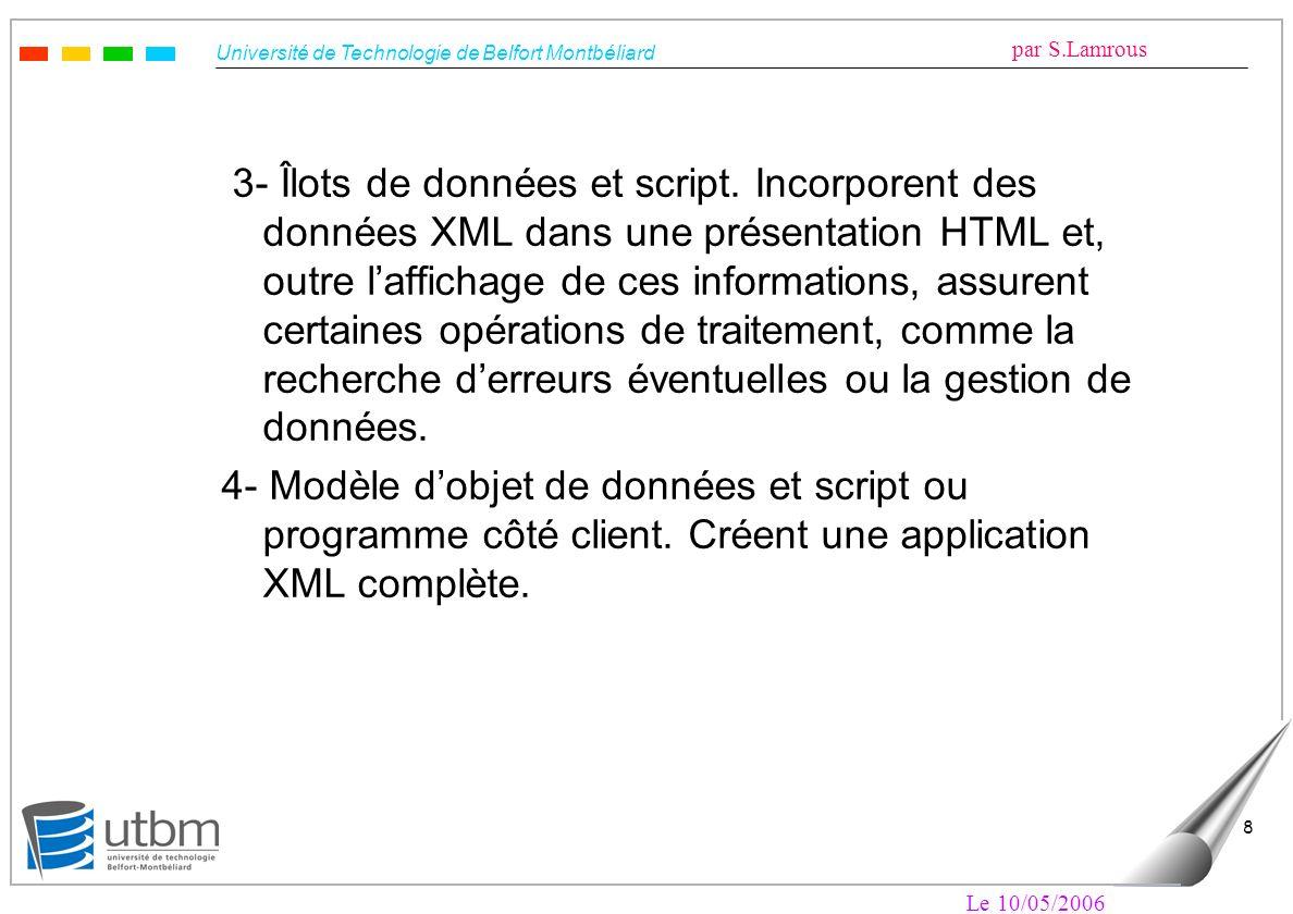 Université de Technologie de Belfort Montbéliard par S.Lamrous Le 10/05/2006 8 3- Îlots de données et script. Incorporent des données XML dans une pré