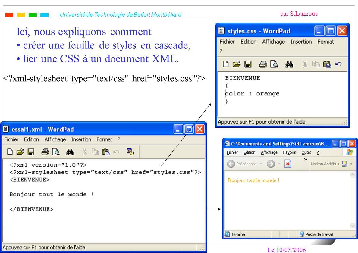 Université de Technologie de Belfort Montbéliard par S.Lamrous Le 10/05/2006 9 Ici, nous expliquons comment créer une feuille de styles en cascade, li