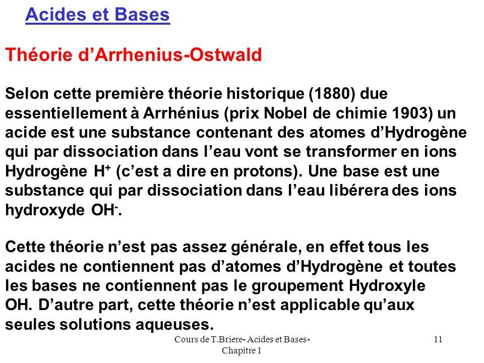Cours de T.Briere- Acides et Bases- Chapitre 1 10 pH Acide Très AcideTrès Basique Basique 02468 1012147 Léchelle des pH se trouve dans la pratique lim
