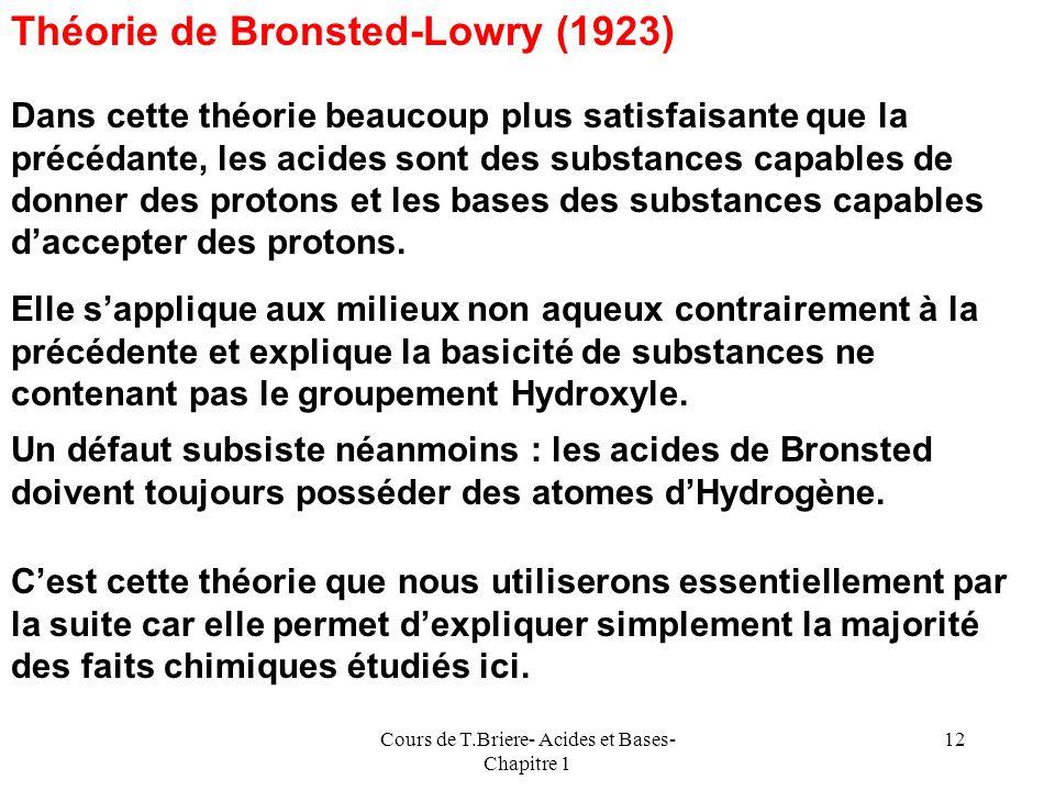 Cours de T.Briere- Acides et Bases- Chapitre 1 11 Acides et Bases Théorie dArrhenius-Ostwald Selon cette première théorie historique (1880) due essent