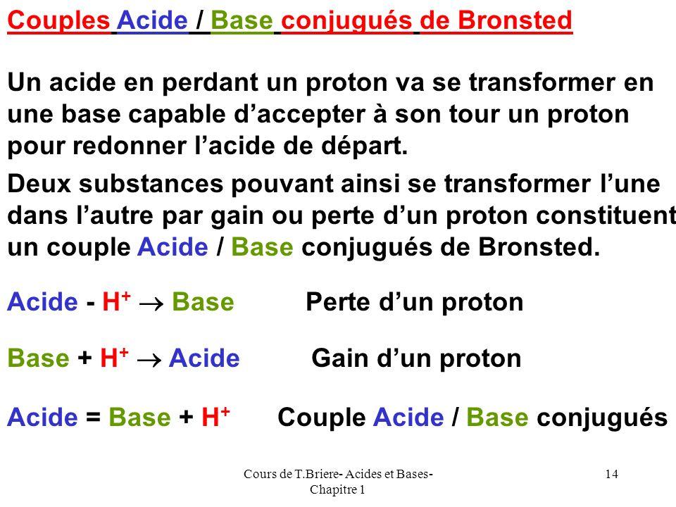 Cours de T.Briere- Acides et Bases- Chapitre 1 13 Théorie de Lewis Cette théorie est beaucoup plus générale que les précédentes. Un acide de Lewis est
