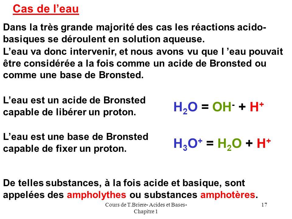 Cours de T.Briere- Acides et Bases- Chapitre 1 16 Réaction acide-base Lacide dun couple donne son proton à la base dun autre couple. Lacide est transf