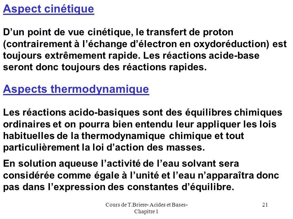 Cours de T.Briere- Acides et Bases- Chapitre 1 20 Réaction des bases sur leau La base 1 réagit avec leau qui joue donc le rôle de lacide 2. La base es
