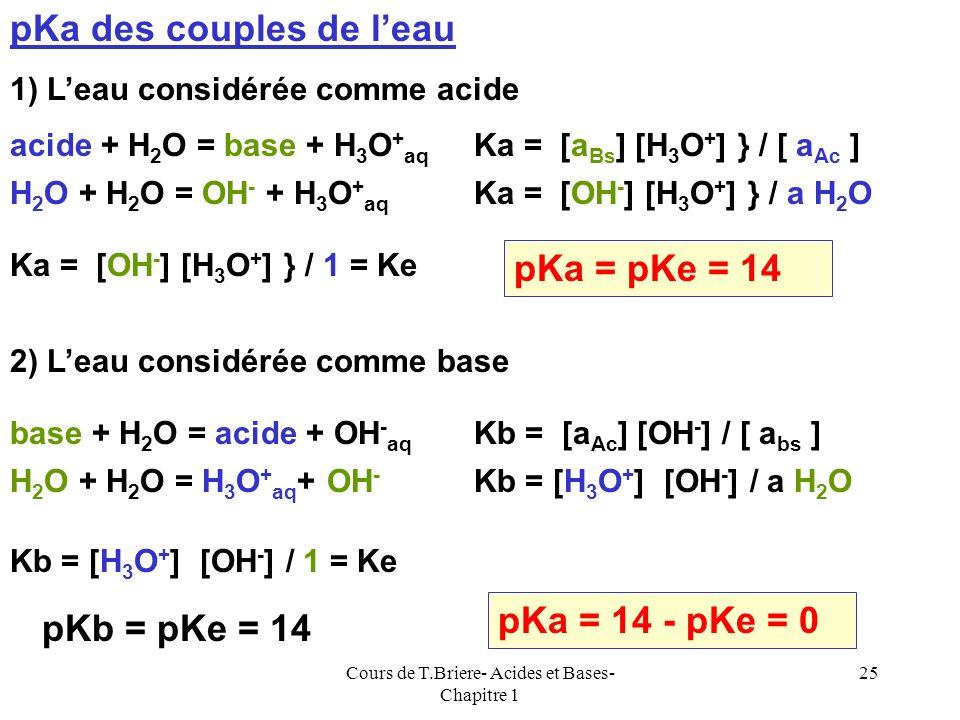 Cours de T.Briere- Acides et Bases- Chapitre 1 24 On peut à priori utiliser indifféremment le Ka ou le Kb pour caractériser un couple acide-base de Br