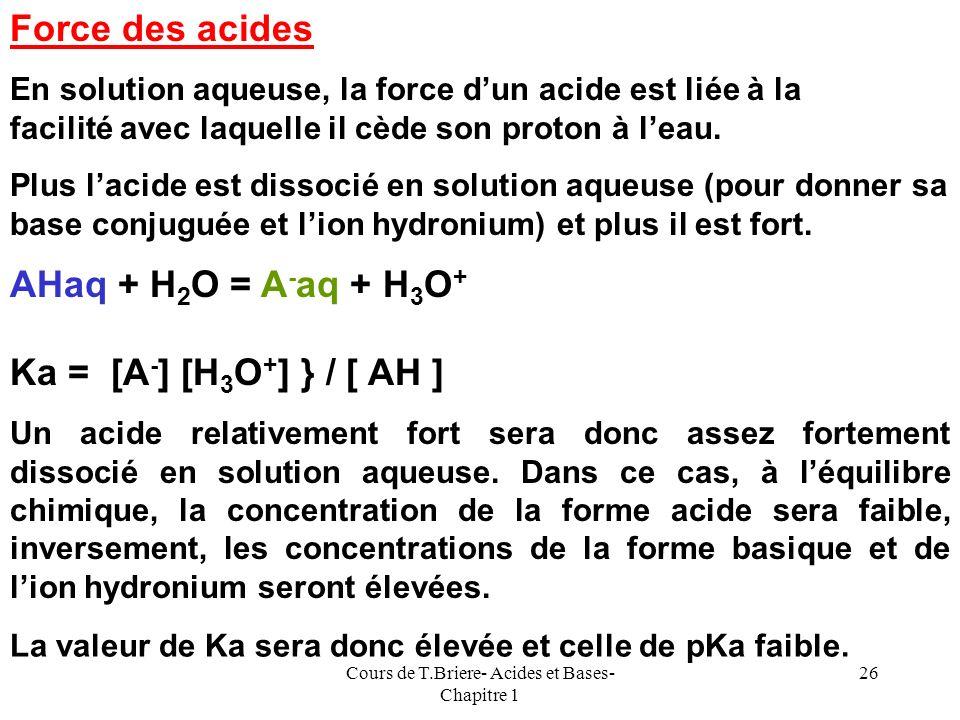 Cours de T.Briere- Acides et Bases- Chapitre 1 25 pKa des couples de leau 1) Leau considérée comme acide acide + H 2 O = base + H 3 O + aq Ka = [a Bs